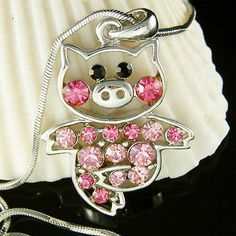 Swarovski crystal Pink PIG Piggy Piglet Charm Pendant Chain Necklace Cute Xmas. $35.00, via Etsy.