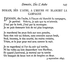"""""""Demain, Des l'Aube"""" by Victor Hugo. I memorized this one in college for a French poetry class."""