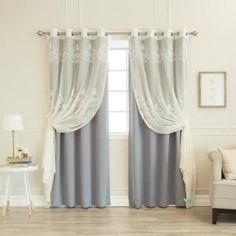 Best Home Fashion 84 in. L uMIXm Sheer Agatha and Blackout Curtains in Grey Sheer Agatha & Grey Blackout Curtain Cool Curtains, Modern Curtains, Colorful Curtains, Turquoise Curtains, Vintage Curtains, White Curtain Rod, White Curtains, Curtain Rods, Gray Bedroom