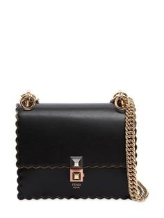 569fc1796 FENDI, Small kan i scalloped leather bag, Black, Luisaviaroma - Height:  Width: Depth: . Metal chain shoulder strap with leather insert .