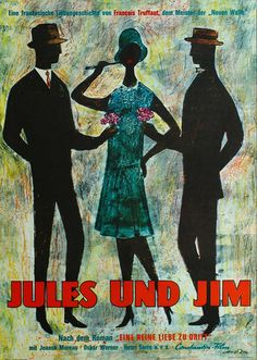 Ferry Ahrlé, illustration for film poster Jules und Jim, 1962. Germany.