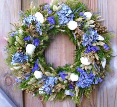 Dried Flower Seashell Wreath.