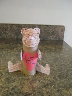 Almost Unschoolers: Love Bears All Things - Toilet Paper Tube Craft (toilet paper roll crafts fine motor) Teddy Bear Crafts, Teddy Bear Day, Teddy Bears, Bible School Crafts, Preschool Crafts, Bible Crafts, Preschool Ideas, Valentine Activities, Bible Activities