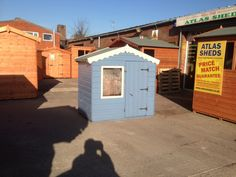 Cuprinol Forget-me-not and Cream Blue Shed, Forget Me Not Blue, Shed Makeover, Cuprinol, Seaside Garden, Shed Colours, Play Houses, Sheds, North West