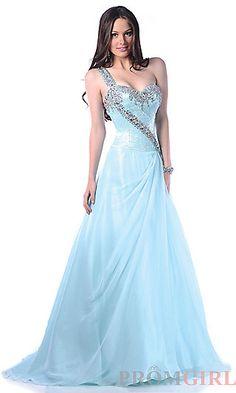 One Shoulder Sky Blue Prom Dress at PromGirl.com