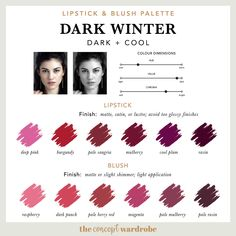 If you have just discovered that you are a Dark Winter in the seasonal colour analysis, find out what the best Dark Winter make-up colours are. Paleta Deep Winter, Deep Winter Palette, Cool Winter Color Palette, Deep Winter Colors, Summer Colors, Colors For Skin Tone, Cool Skin Tone, Cool Tones, Winter Typ