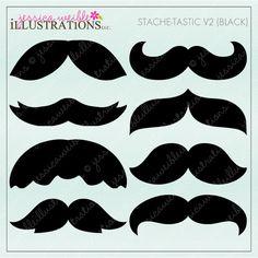 Stache-Tastic V2 clipart set comes with 8 cute moustache graphics.