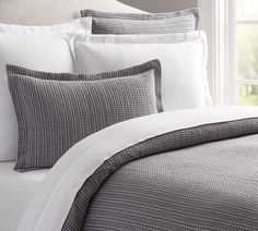 Honeycomb Quilt Cover & Pillowcases - Grey