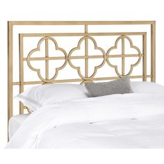 Designed for today's eclectic decor preferences, this headboard in antique gold finish, blends timeless design with glam styling. This airy, qua-trefoil pattern, metal frame headboard is a fresh new take on the traditional iron bed.