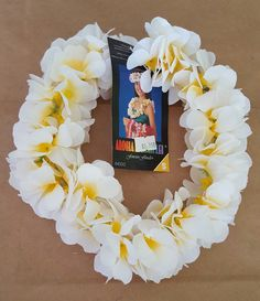 White Plumeria Headband Silk Lei