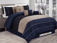 7-Pc Pleated Striped Embroidered Medallion Geometric Circle Diamond Comforter Set Navy Blue Black Khaki King HGS http://www.amazon.com/dp/B00KODHFCY/ref=cm_sw_r_pi_dp_0wQlub192CS69