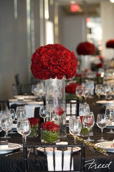 Red rose reception wedding flowers,  wedding decor, wedding flower centerpiece, wedding flower arrangement, add pic source on comment and we will update it. www.myfloweraffair.com can create this beautiful wedding flower look.
