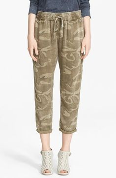 Current/Elliott Camo Print Drawstring Trousers available at #Nordstrom