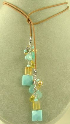 Lariat Necklace -Sterling Silver -synthetic Turquoise, Citrine, Yellow CZ, Carnelian, Gold Swarovski Pearls