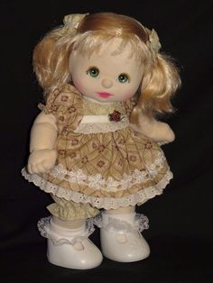 MY CHILD DOLL CUTIE PLAT BLONDE GREEN EYES BROWNS AND PINK DRESSED(ITEM INSURED) #DollswithClothingAccessories