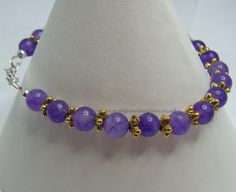 Amethyst 6 mm Gold Coloured Flower Spacer Beads £16.00 plus p&p