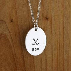 Re-pin if you know a hockey mom! Hockey mom necklace  hand stamped necklace  sterling by JustJaynes, $29.00