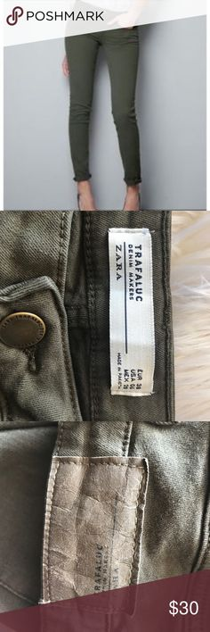 Zara Trafaluc Military Green Stretch Skinny In great condition! Such an awesome color, super versatile especially for colder weather. Zara Jeans Skinny