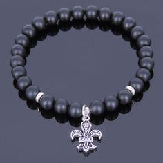 Men's Healing Gemstone Bracelet Matte Black Onyx 925 Sterling Silver Anchor 520M #Handmade #MensGemstone925SterlingSilverBeadedBracelet