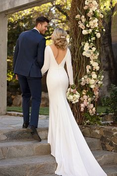 wedding dress idea - sheath wedding dress with v-back - Style . Long-sleeve wedding dress idea - sheath wedding dress with v-back - Style .Long-sleeve wedding dress idea - sheath wedding dress with v-back - Style . Classic Wedding Dress, Wedding Dress Trends, Long Wedding Dresses, Long Sleeve Wedding, Designer Wedding Dresses, Bridal Dresses, Classic Dresses, Dresses Dresses, Elegant Dresses
