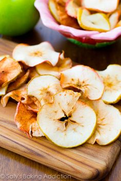 Baked Apple Chips... crispy, crunchy, cheap, and simple.  These are so addicting and all you are eating is apples.