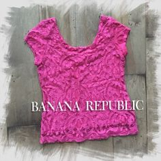NWOT BANANA REPUBLIC • Pink Lace Top XS Blouse New without tags -- Excellent condition.  Only worn once.  Sheer lace outer shell (67% cotton, 33% nylon), inner lining (100% rayon). Dry clean only. Banana Republic Tops Blouses