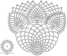Crochet Art: Crochet Pattern Of Nice Doily Crochet Doily Diagram, Crochet Mandala, Crochet Stitches Patterns, Crochet Motif, Crochet Doilies, Crochet Wool, Crochet Art, Crochet Round, Thread Crochet