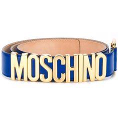 Moschino Logo Plaque Belt ($295) ❤ liked on Polyvore featuring accessories, belts, blue, moschino, logo belt, moschino belt et blue belt