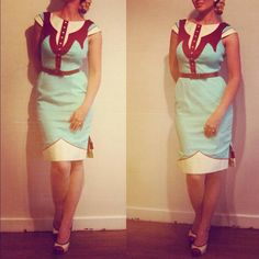 SALE - The Dale Dress - Vintage Aqua - Western Rodeo Cowgirl Pinup Dress