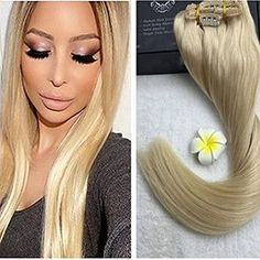 Full Shine Color Platinum Blonde Clip Hair Extensions Natural Human Hair Clip on Hair Extensions Full Head Clip Ins Blonde Extensions, Human Hair Extensions, Indian Human Hair, Platinum Blonde, Remy Human Hair, Hair Type, Hair Lengths, Straight Hairstyles, Curls