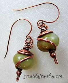 Wire Wrapped Earrings | Wire Wrapped Big Bead Earrings