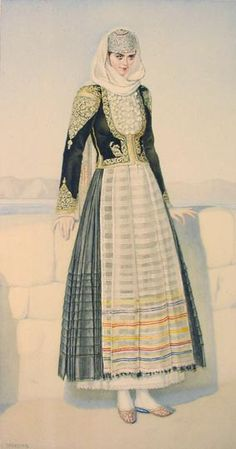 Nicolas Sperling drawing of a festive dress from Megara, Greece Greek Traditional Dress, Traditional Fashion, Traditional Outfits, Greece Costume, Ancient Greek Costumes, Greek Dress, Period Outfit, Festival Dress, Folk Costume