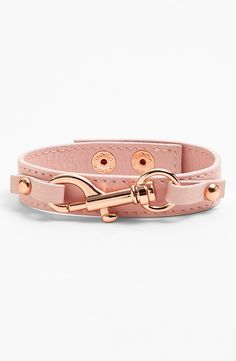 Cute pink arm candy. Adding this Rebecca Minkoff leather bracelet to a stacked wrist.