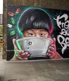 street art Woskerski mural for Wagamama restaurant Street Mural, Street Art Graffiti, Graffiti Murals, Mural Art, Installation Street Art, Street Art London, Sidewalk Chalk Art, Street Art Photography, Urban Street Art