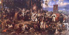 Jan Matejko - Kościuszko pod Racławicami (Battle of Raclawice) 1888 Basic Painting, Russian Painting, Poland History, Sympathy For The Devil, Art Database, Medieval Art, Modern Warfare, Krakow, Battle