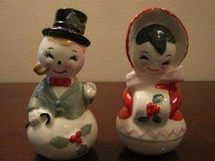 Christmas Vintage 50's Salt Pepper Shakers Ceramic Mr Mrs Snowman Lefton Japan