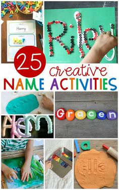 One important skill for Preschoolers and Kindergartners to learn is how to recognize their name. Kids will love these fun, hands-on name activities! Name Activities Preschool, Name Writing Activities, Kindergarten Names, Pre K Activities, Preschool Learning, Hands On Activities, Learning Activities, Preschool Activities, All About Me Activities For Preschoolers