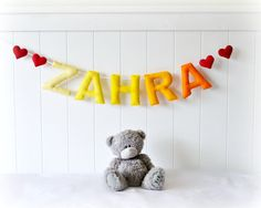 Personalized felt name banner  custom made wall by LullabyMobiles, $95.00