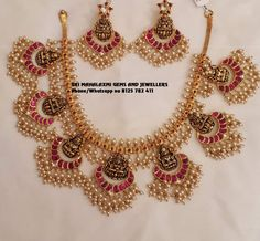 Presenting here is Ram Parivaar Haar with matching Necklace and Chandbali. Contact no Indian Bridal Jewelry Sets, Indian Jewelry Earrings, Jewelry Design Earrings, Gold Earrings Designs, India Jewelry, Jewellery Designs, Gold Jewellery, Jewelry Bracelets, Gold Jewelry Simple