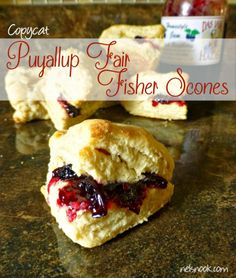 Copycat Fisher Scones - A Puyallup Fair Speciality I swear I had these when I was a kid. There was a booth that sold warm scones with raspberry jam. It was the first time I ate scones, and made me a lifetime fan. Fisher Scone Recipe, Puyallup Fair, Raspberry Scones, Blueberry Scones, Scone Mix, State Fair Food, Bread And Pastries, Copycat Recipes, Breakfast Recipes