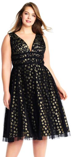 Metallic Polka Dot Tulle Midi Dress with Plunging V-Neckline