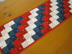 Quilted Table Runner Patriotic | PatchworkMountain - Seasonal on ArtFire
