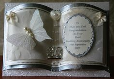 Della Hamill uploaded this image to 'bookatrix cards'. See the album on Photobucket. Pearl Anniversary, Anniversary Crafts, Wedding Anniversary Cards, Wedding Cards, How To Make Frames, Storybook Wedding, Paper Purse, Card Book, Shaped Cards