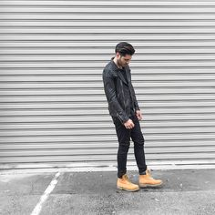 Get this look: http://lb.nu/look/7750032  More looks by Mattthw D: http://lb.nu/mattthw  Items in this look:  All Saints Leather Jacket, Fear Of God Inside Out Tee, Ksubi Chitch Od Denim, Timberland 6 Inch Classic Wheat Premium   #casual #minimal #street