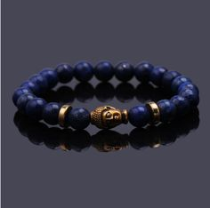 Deep Blue Stretchy Buddha Head Bracelet - $10.04 Free Shipping Worldwide