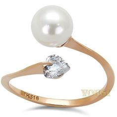 Womens IP Rose Gold White Synthetic Pearl Ring RI0T-08097