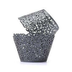 ROSENICE 50pcs Laser Cut Cupcake Wrappers for Wedding Birthday Party Baby Shower Decor >>> Check out this great image  : Bakeware