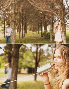 cute engagement pic- okay i love the can and string idea! so cute!