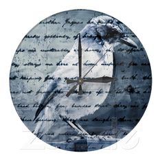 Blue Bird Song Round Wall Clock from Zazzle.com