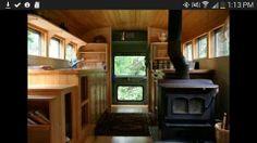 Cute interior of old school bus